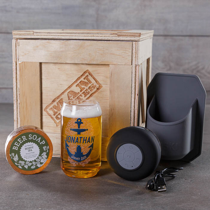 Personalized Shower Beer Crate components for men's beer gift.