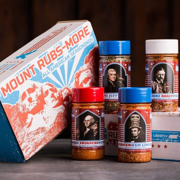 Mount Rubsmore Pack includes four different presidential spices rubs.
