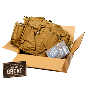 New Dad Tactical Bag ships in a cardboard box.