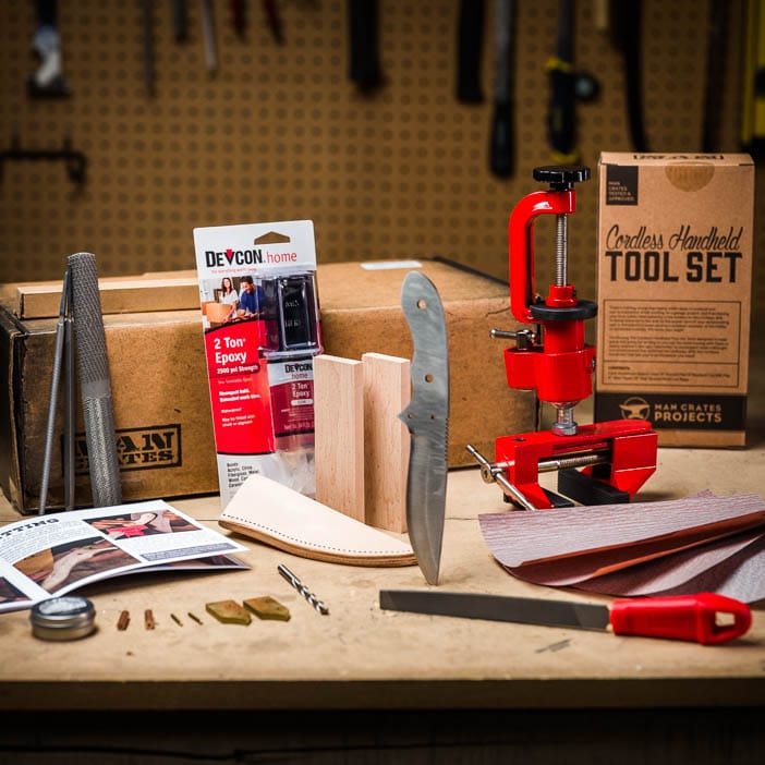 The Knife Making Kit includes all knife components needed, wood stain, vise and file set, sandpaper, and project booklet.