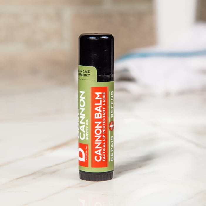 "We know it's silly, but it's hard not to feel a little insecure about using chapstick. SPF and wind protection are great, but do they need to come in dainty tubes with flavors like cantaloupe mint and butter toffee? Duke Cannon answered that question with a resounding ""no"", and even upgraded their lip balm to the tactical size (which in this context means 4x bigger than normal)."