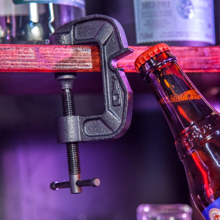 Beers are best had after accomplishing a great feat. Clamp it on a tool bench, crafting table, or even the kitchen table, if you must. Reward yourself after a tough day in the workshop by quickly opening that perfect beer.