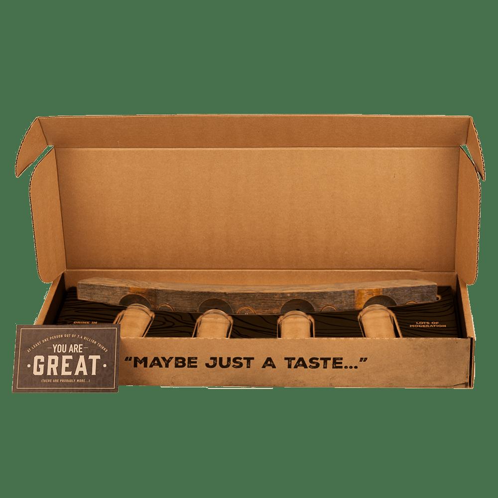 Tasting Flight ships in a cardboard box.