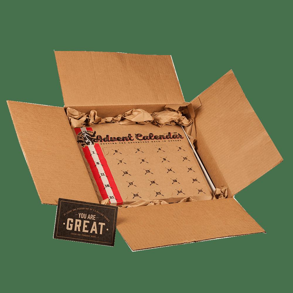 Jerky Advent Calendar ships in a cardboard box.