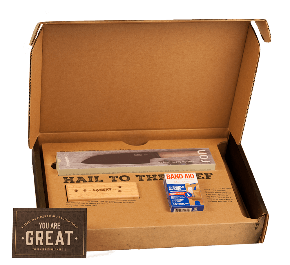 Personalized Chef Pack ships in a cardboard box.