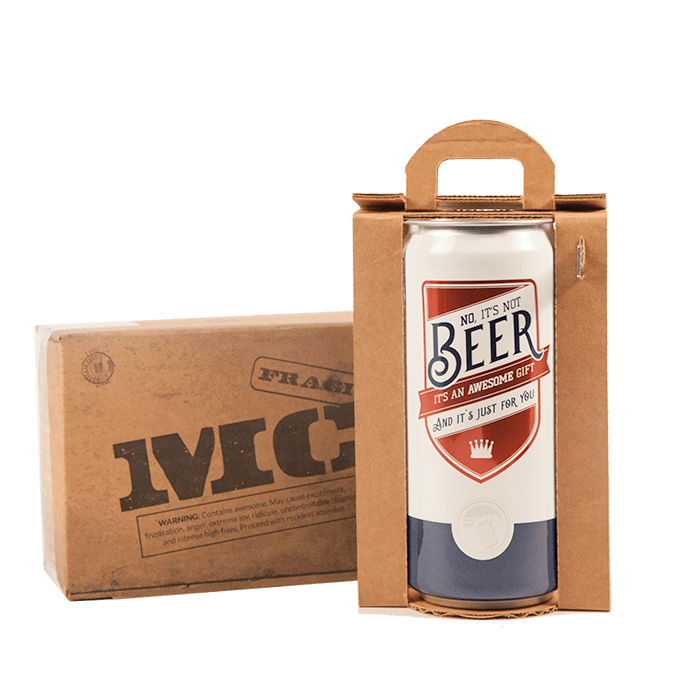 Crowler cans are sealed and ship in cardboard boxes with a can opener included.