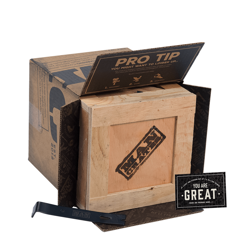 Crate gifts are shipped in a Man Crates cardboard shipper box.