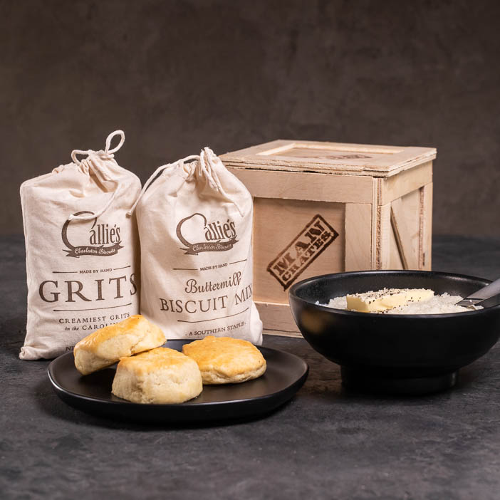 Breakfast Rations Ammo Can includes buttermilk biscuit mix, grits, and hot honey.