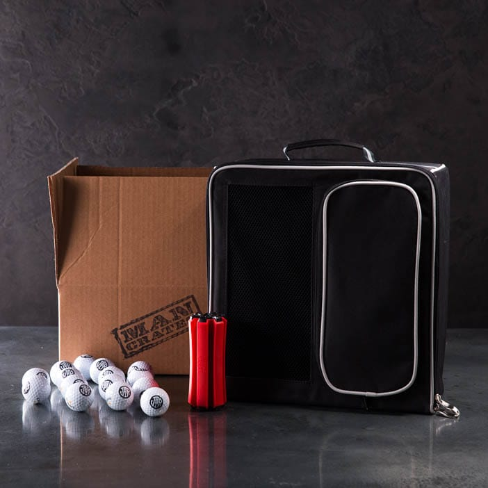 Golf And Go Caddy Pack includes personalized golf balls, club holder, and golf gear organizer.