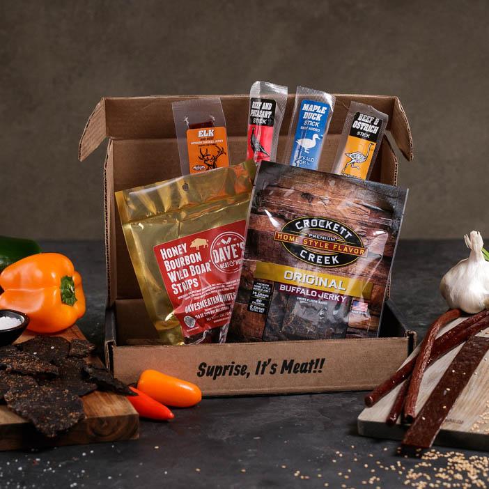 Exotic Meats Jerkygram includes an assortment of different jerky and proteins from faraway lands.
