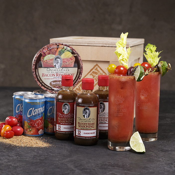 Bloody Mary cocktails with accessories and ingredients for men's gift.