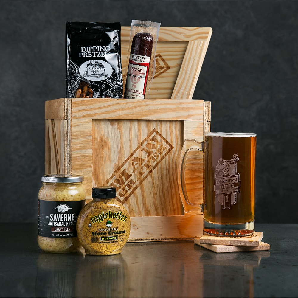 The Personalized Oktoberfest Stein, meats, and sauces make a great men's beer gift.