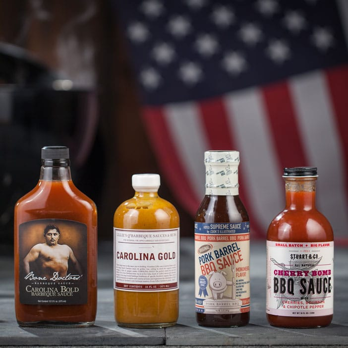 Delicious regional barbecue sauce gift collection.
