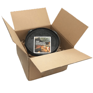 The Dutch Oven Kit ships in a cardboard box.
