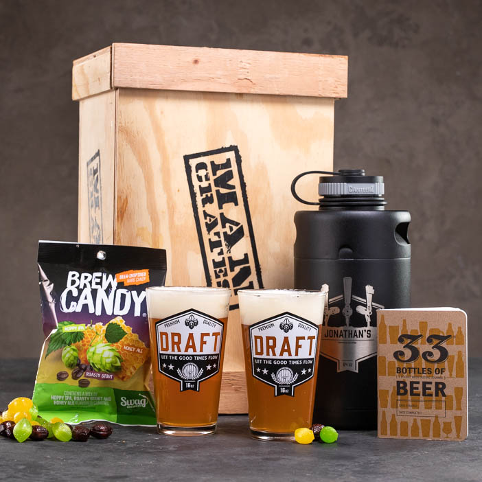 The Personalized Growler Crate components for men's beer gift.