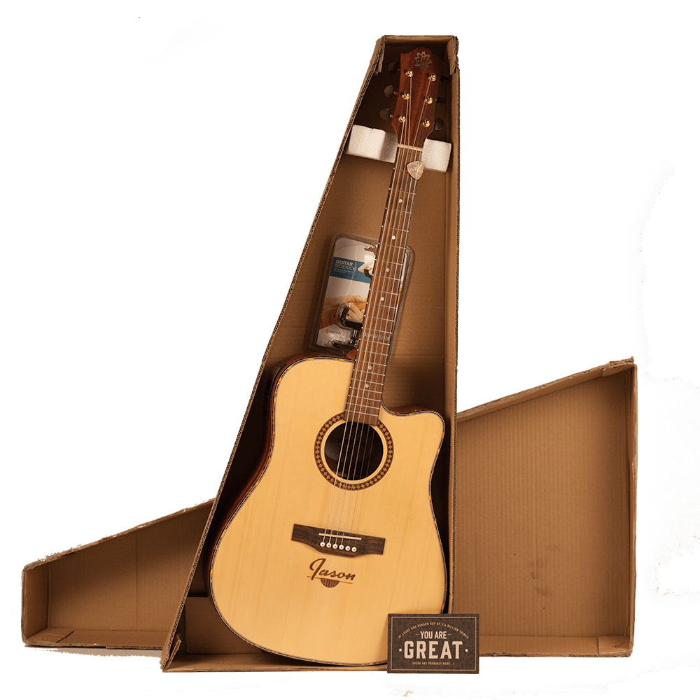 Personalized Guitar ships in a cardboard box.