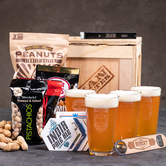 Awesome personalized pint set and snacks for beer lovers.