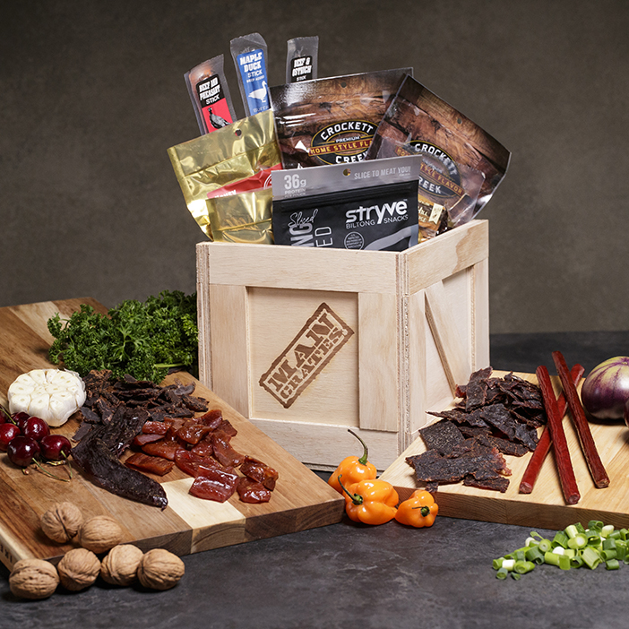 Exotic Meats Crate includes ten different varieties of exotic meat jerky.