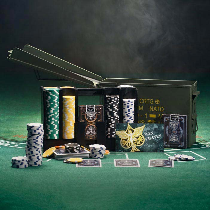 Great poker set in ammo can storage is a great men's sports gift.
