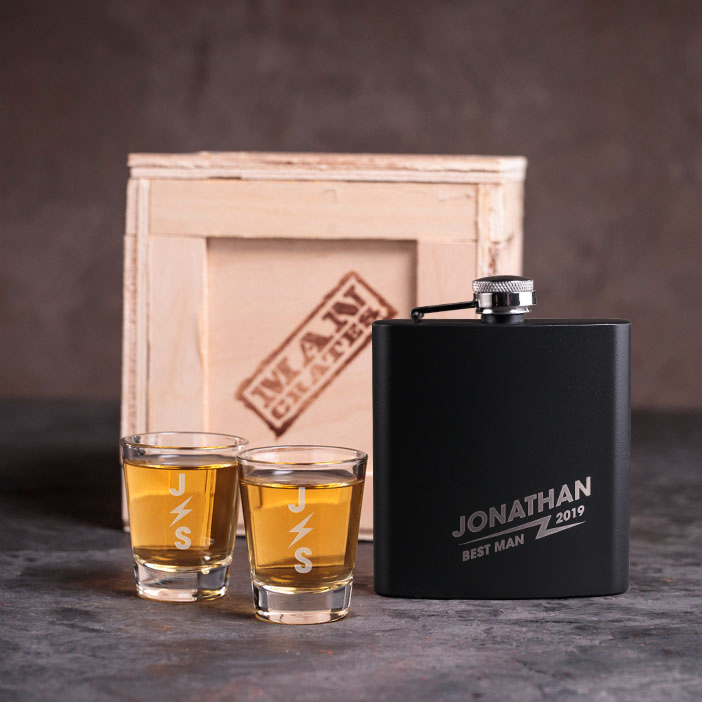 Flask and shot glasses collection