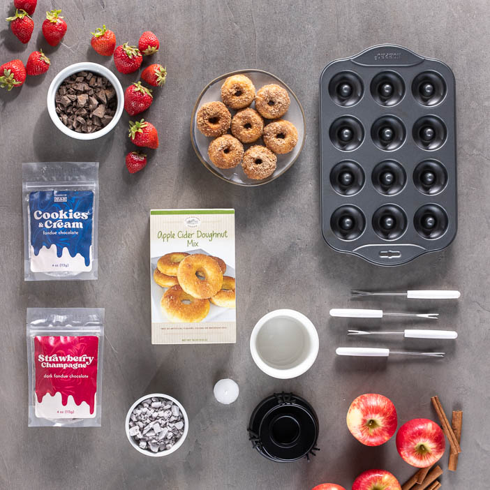 Donut pan, mix, fondue set, and dipping sweets is a great men's cooking gift.