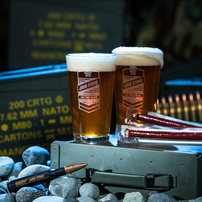 Personalized Pint Set Ammo Can includes two personalized pint glasses, bottle opener, and two jerky sticks.