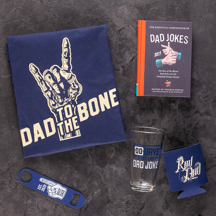 Coolest Dad shirt, glass, book, coozie, and bottle opener are a great men's gift.