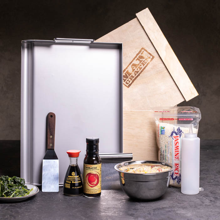 Hibachi Grill Crate is a quality, stainless steel hibachi set will have him spinning those spatulas and savoring the sizzle!