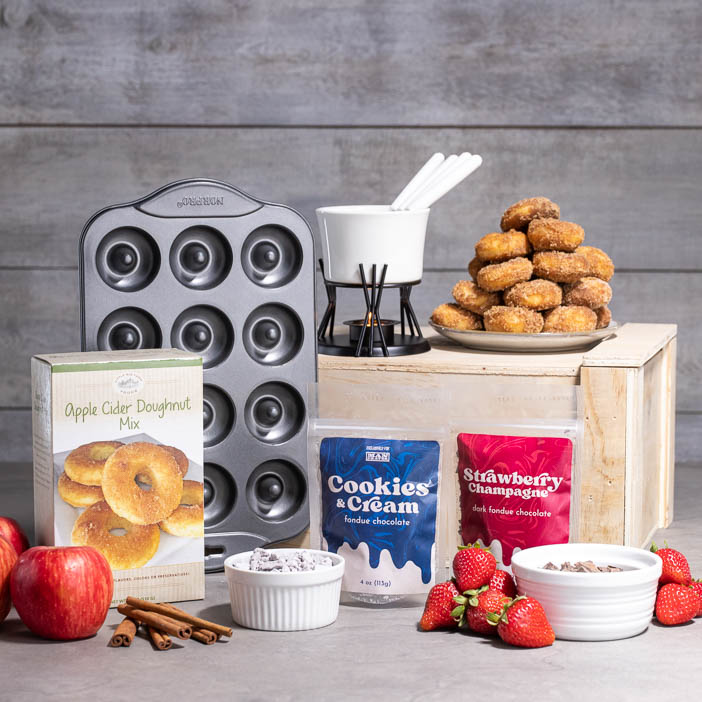 Satisfy his sweet tooth with home-baked donuts dipped in gooey chocolate with our Fon-Donuts Crate. Don't mind if I fondue!