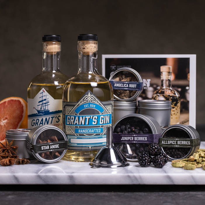 Personalized Gin, flavor infusers, and kit booklet is an awesome DIY gift for men.